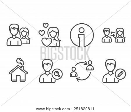 Set Of People Communication, Teamwork And User Communication Icons. Search People, Love And Edit Per