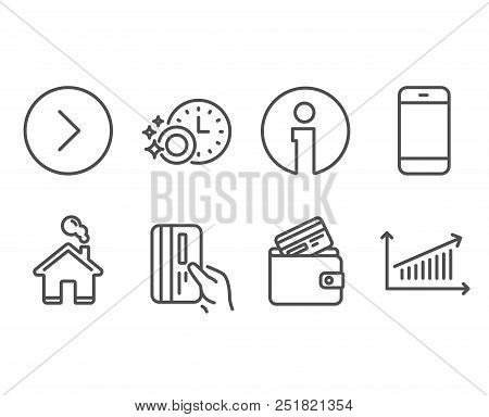 Set of Smartphone, Debit card and Payment card icons. Dishwasher timer, Forward and Chart signs. Cellphone or phone, Cleaning dishes, Next direction. Presentation chart. Vector poster