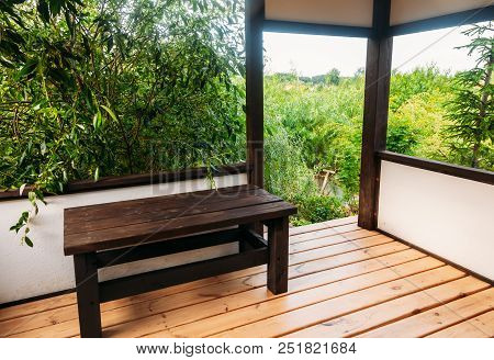 Beautiful Japanese Interior With Green Trees Outside