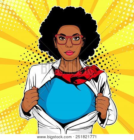 Pop Art Female Afro American Superhero. Young Sexy Woman Dressed In White Jacket Shows Superhero T-s