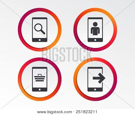 Phone Icons. Smartphone Video Call Sign. Search, Online Shopping Symbols. Outcoming Call. Infographi