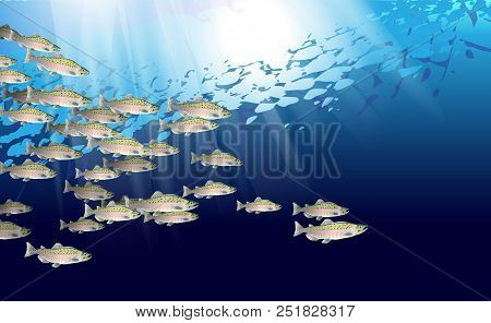 School Of Pink Salmon Fish. Marine Life. Vector Illustration Optimized From To Be Used In Background