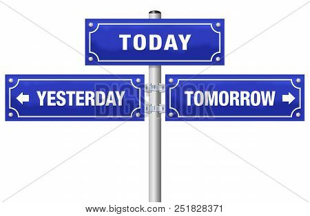 Yesterday, Today, Tomorrow, Written On Three Blue Signposts - Symbolic For Living In The Here And No