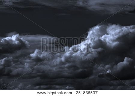 Dramatic Dark Sky With Clouds. The Harsh Landscape Of Heaven.