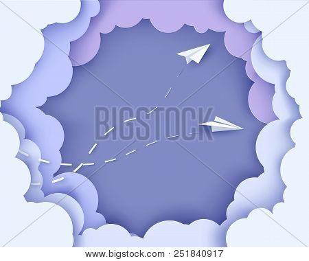 Flying Paper Airplanes On Clouds Background. Paper Cut Style. Vector Illustration. Paper Cut Style.