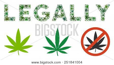 Legally Caption Composition Of Marijuana Leaves In Variable Sizes And Green Tones. Vector Flat Marij