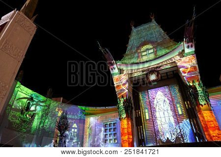 3d mapping at TCL Chinese Theatre IMAX at Michael Jackson Scream Halloween Takeover at TCL Chinese Theatre IMAX on October 24, 2017 in Los Angeles, CA