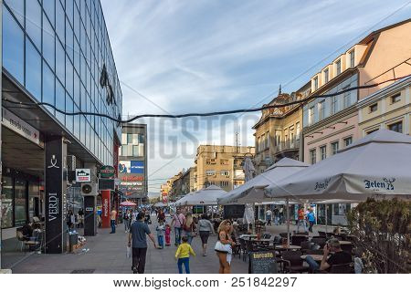 Nis, Serbia- October 21, 2017: Walking People On Central Street Of City Of Nis, Serbia