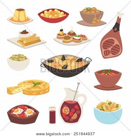 Spain Cuisine Vector Food Cookery Traditional Dish Recipe Spanish Snack Tapas Crusty Bread Food Gast