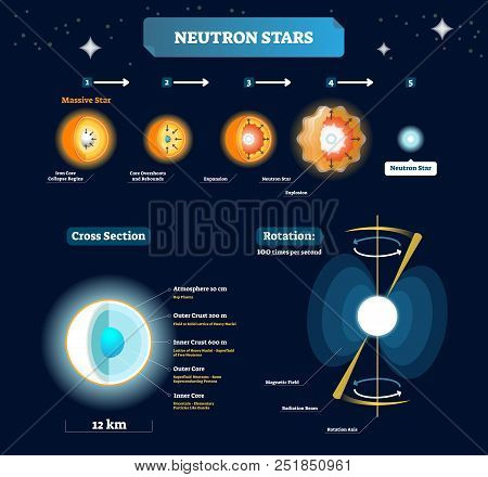 Neutron Stars Vector Illustration. Educational Labeled Scheme With Massive Star Stages To Explosion.