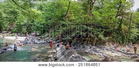 Sochi, Russia - July 25, 2018: Canyon Of The River Dagomys On A Day Off. The Photo Shows A Favorite