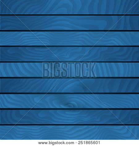 Cartoon Wooden Table Background. Planks. Vector Illustration. Texture Of A Tree. Light Blue Woody Su