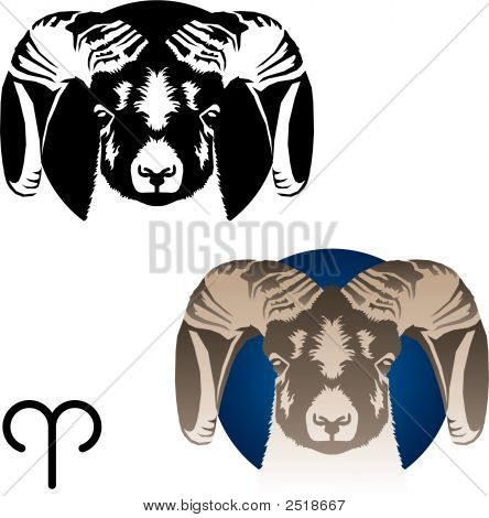 Stylized graphic version of Aries the Ram zodiac sign poster