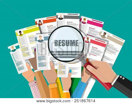 Hands Holding Cv Resume Documents. Manager Chooses The Right Candidate. Human Resources Management,