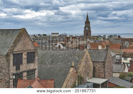 View Of Cityscape Of Berwick-upon-tweed, Northernmost Town In Northumberland At The Mouth Of River T
