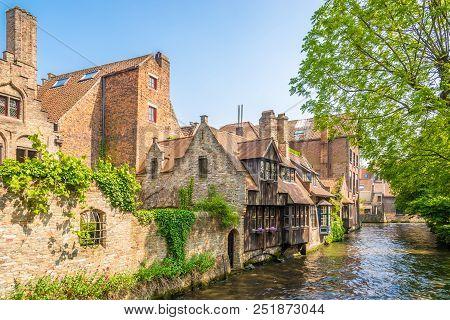 Rozenhoedkaai Canal From Bonifacius Bridge In Bruges, Belgium