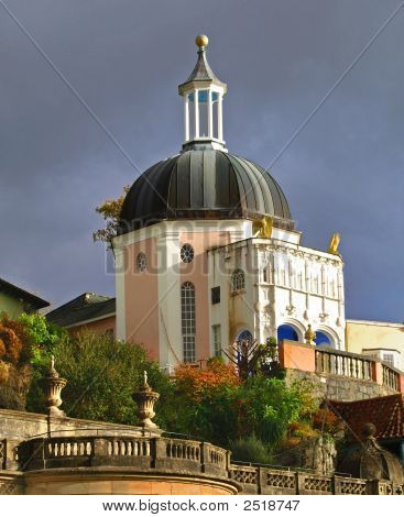 Portmeririon village in north wales. This building was used as number 1's house in the TV series the Prisnoer fimed in the 60's. poster
