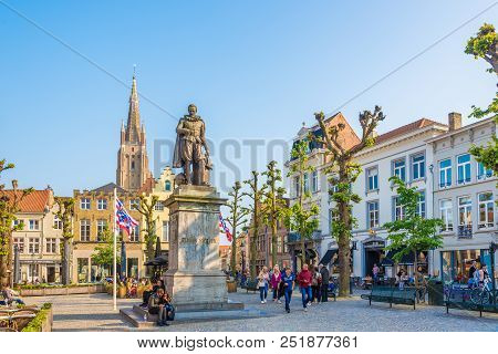 Bruges,belgium - May 20,2018 - At The Stevin Place Of Bruges. The Historic City Centre Of Bruges Is