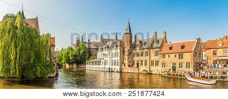 Bruges,belgium - May 20,2018 - Panoramic View At The Rozenhoedkaai Canal In Bruges. The Historic Cit