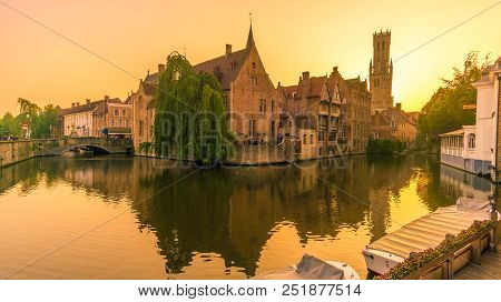Bruges,belgium - May 20,2018 - Sunset In Bruges Near Rozenhoedkaai Canal.the Historic City Centre Of