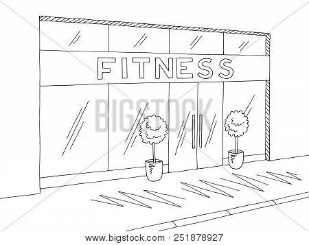 Gym Exterior Graphic Black White Sketch Illustration Vector
