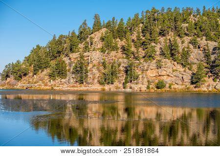 Lily Lake at autumn. Rocky Mountains in Colorado, USA.