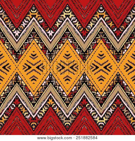 Abstract Zigzag Pattern For Cover Design. Retro Chevron Vector Background. Geometric Decorative Seam