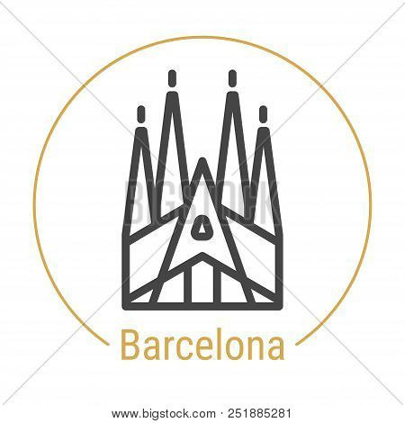 Barcelona, Spain Vector Line Icon With Gold Circle Isolated On White. Barcelona Landmark - Emblem -