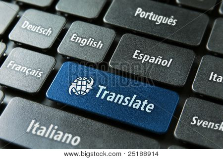 Multilingual translation online concept. Close up of multi language keyboard and translate word key in blue color with clipping path. poster