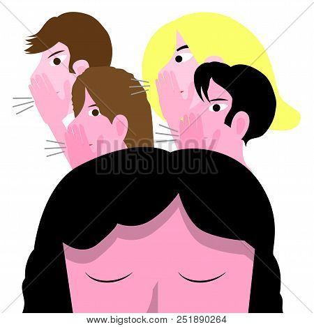 Bullying Conceptual Vector Illustration With Sad Girl, Female Teenager Molested By A Group Of Teens