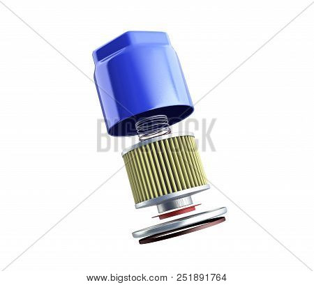 Internal Structure Of Automobile Oil Filter 3d Render On White No Shadow