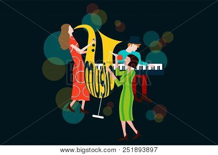 Series Of Music Jazz, Blues Concert Composition With Men And Women Singing And Playing Sax And Piano