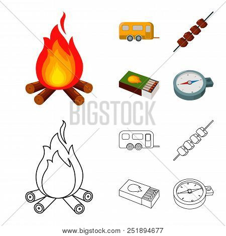 Trailer, Shish Kebab, Matches, Compass. Camping Set Collection Icons In Cartoon, Outline Style Vecto