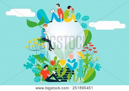 Happy People Taking Care Of The Environment And The Earth Loving The Garden And Nature - Vector Conc