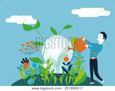 Business Woman Watering A Light Bulb - Vector Illustration For Concept Of Taking Care And Make Growi