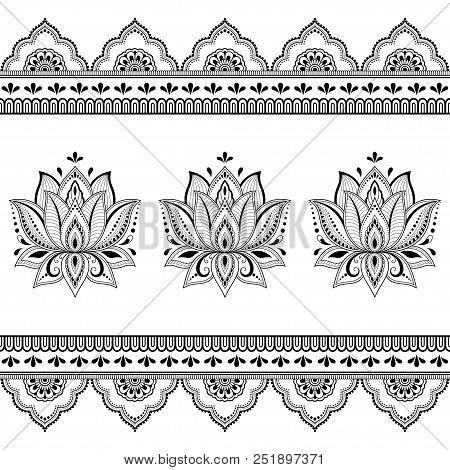 Set mehndi lotus vector photo free trial bigstock set of mehndi lotus flower pattern and seamless border for henna drawing and tattoo decoration mightylinksfo