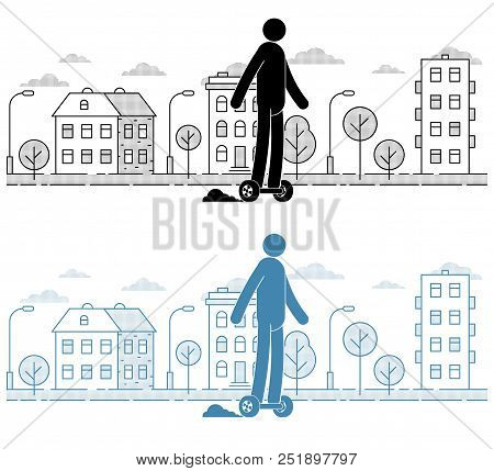 Icon Man Riding A Hoverboard On  The Urban Landscape Background. Pictogram People. Individual Transp
