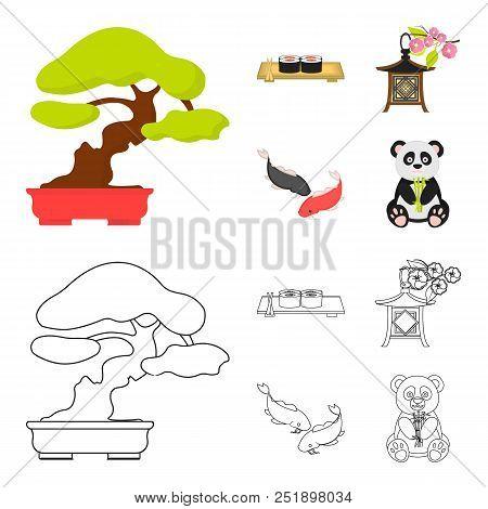Sushi, Koi Fish, Japanese Lantern, Panda.japan Set Collection Icons In Cartoon, Outline Style Vector