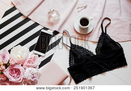 Flat Lay, Magazines, Social Media. Top View Black Lace Lingerie. Beauty Blog Concept. Woman Fashion