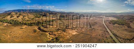 Large Aerial Panorama Of Flinders Ranges Mountain Range And Rural Road In South Australia