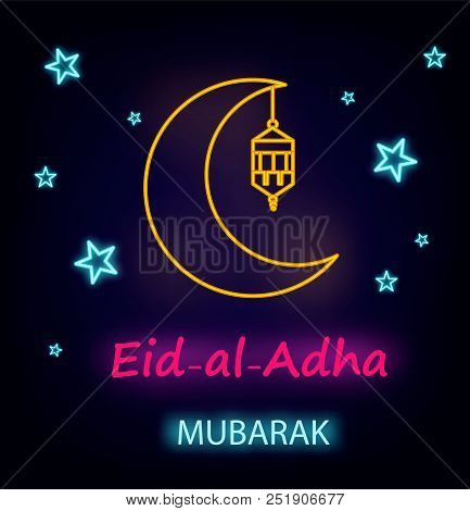 Eid Al-adha Greeting Card With Line Lantern, Moon And Stars, Neon Effect. Eid Mubarak. Vector Illust