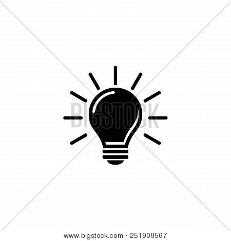 Light Bulb Icon Isolated On White. Vector Icon. Light Bulb Sign In Style. Lighting Lamp In Black.