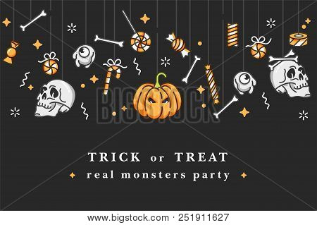 Vector Illustartion Set Of Linear Icons For Happy Halloween. Badges And Labels For Party And Fair. T