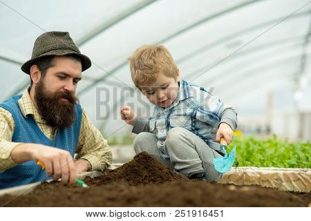 Botanic Worker. Botanic Worker Child With Father In Greenhouse. Farm Worker In Botanic Garden. Botan