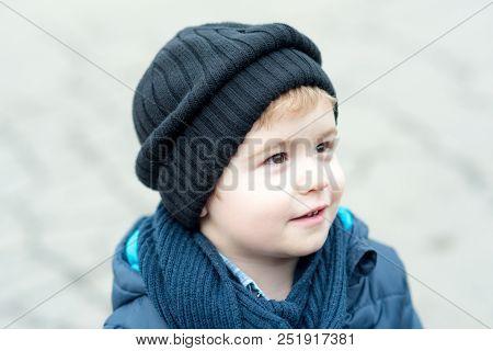 Little Boy. Little Boy Has Happy Childhood. Little Boy In Autumn Hat. Little Boy Outdoor With Cute F