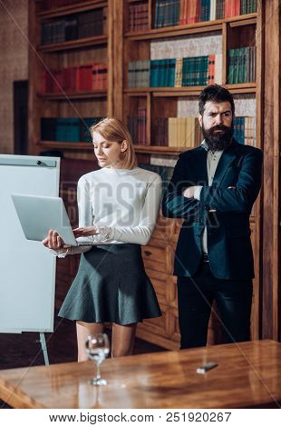 Internet Concept. Business Man And Woman Use Internet To Exchange Web Documents With Global Network