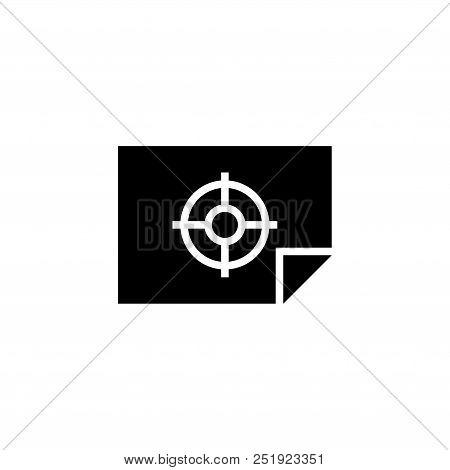 Firing Range Target, Aim. Flat Vector Icon Illustration. Simple Black Symbol On White Background. Fi
