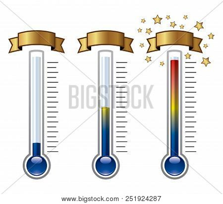 Vector Goal Thermometers At Different Levels Isolated On White Background