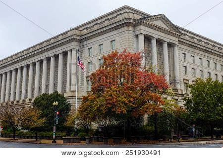 Washington DC - Internal Revenue Service (IRS) Building in Autumn season