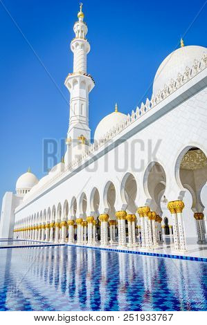 Reflection pools at Sheikh Zayed Grand Mosque in Abu Dhabi, UAE